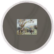 Working Clydesdale Pair, Australian Landscape. Round Beach Towel