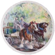 Working Clydesdale Pair, Victoria Breweries. Round Beach Towel