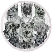 Working Dogs Of Florida Round Beach Towel