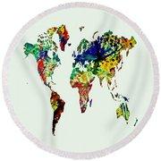 World Map 01 Round Beach Towel