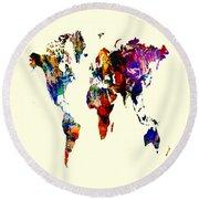 World Map 02 Round Beach Towel