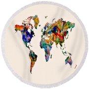 World Map 03 Round Beach Towel