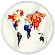 World Map 07 Round Beach Towel