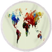 World Map 08 Round Beach Towel