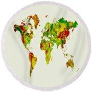 World Map 09 Round Beach Towel