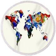 World Map 10 Round Beach Towel