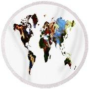 World Map 10a Round Beach Towel