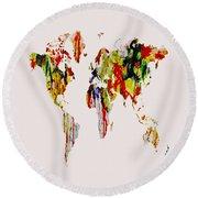 World Map 11 Round Beach Towel