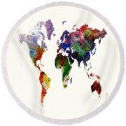 World Map 16 Round Beach Towel