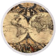 World Map 1666 Round Beach Towel by Andrew Fare
