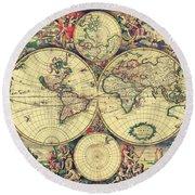 World Map 1689 Round Beach Towel