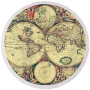 World Map 1689 Round Beach Towel