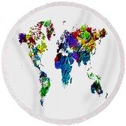 World Map 4b Round Beach Towel