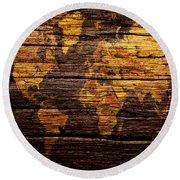 World Map 4w  Round Beach Towel