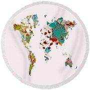 World Map 5b Round Beach Towel