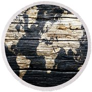 World Map 5w  Round Beach Towel