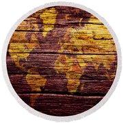 World Map 6w  Round Beach Towel
