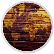 World Map 7w  Round Beach Towel