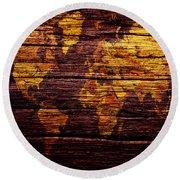 World Map 8w  Round Beach Towel