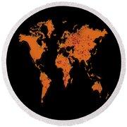 World Map A4 Round Beach Towel