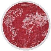 World Map Blueprint 3 Round Beach Towel by Bekim Art