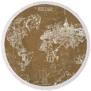 World Map Blueprint 4 Round Beach Towel by Bekim Art