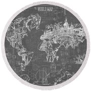 World Map Blueprint 5 Round Beach Towel