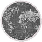 World Map Blueprint 5 Round Beach Towel by Bekim Art