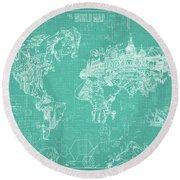 Round Beach Towel featuring the digital art World Map Blueprint 7 by Bekim Art