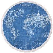 World Map Blueprint Round Beach Towel by Bekim Art