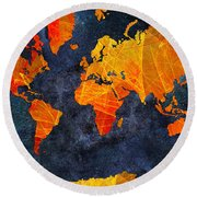 World Map - Elegance Of The Sun - Fractal - Abstract - Digital Art 2 Round Beach Towel