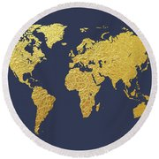 World Map Gold Foil Round Beach Towel