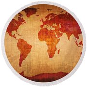 World Map Grunge Style Round Beach Towel