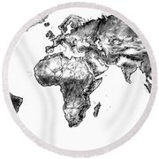 World Map In Graphite Round Beach Towel