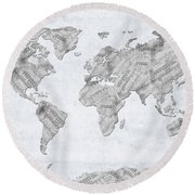 World Map Music 10 Round Beach Towel