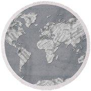 Round Beach Towel featuring the digital art World Map Music 11 by Bekim Art