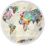 Round Beach Towel featuring the digital art World Map Music 12 by Bekim Art