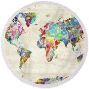 World Map Music 12 Round Beach Towel by Bekim Art