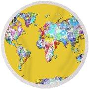 Round Beach Towel featuring the digital art World Map Music 13 by Bekim Art