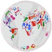 Round Beach Towel featuring the digital art World Map Music 3 by Bekim Art