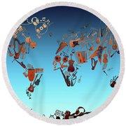 Round Beach Towel featuring the digital art World Map Music 6 by Bekim Art