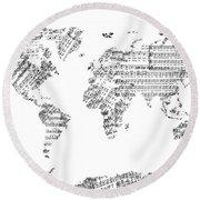 Round Beach Towel featuring the digital art World Map Music 8 by Bekim Art