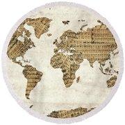 Round Beach Towel featuring the digital art World Map Music 9 by Bekim Art