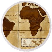 World Map Of Coffee Round Beach Towel by David Lee Thompson