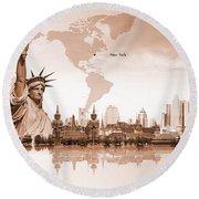 World Of New York 01 Round Beach Towel