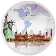 World Of New York  Round Beach Towel