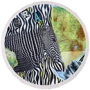 World Of Zebras Round Beach Towel