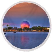 World Showcase Lagoon Sunset Mp Round Beach Towel
