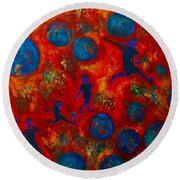 Round Beach Towel featuring the painting World Soccer Dreams 2 by Claire Bull