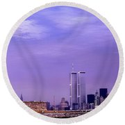 World Trade Center Twin Towers And The Statue Of Liberty  Round Beach Towel
